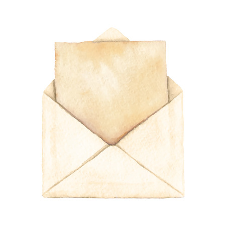 Envelope with a letter - painted in watercolor. Vectorized watercolor illustration. 일러스트