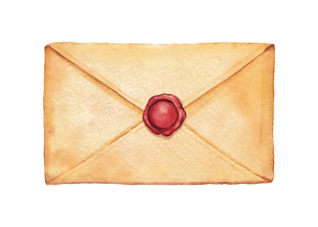 old envelope: Old envelope sealed with wax stamped - painted in watercolor. Vectorized watercolor illustration.