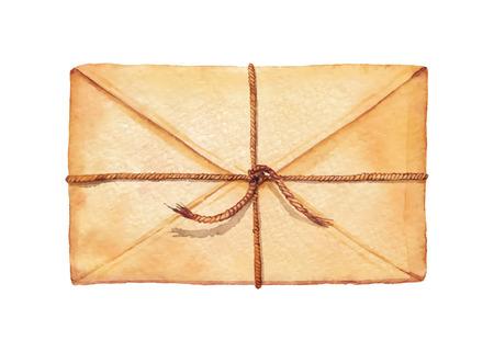 enveloppe ancienne: Old envelope cordon associ� - peint � l'aquarelle. Vectoris� illustration d'aquarelle.