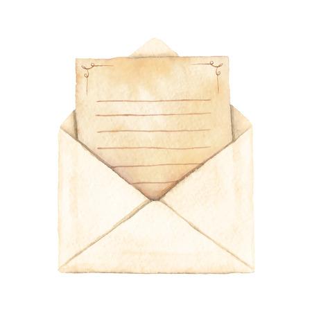 vectorized: Sobre con una carta pintada en acuarela. La carta est� decorado con adornos y forrado. Ejemplo de la acuarela vectorizado.