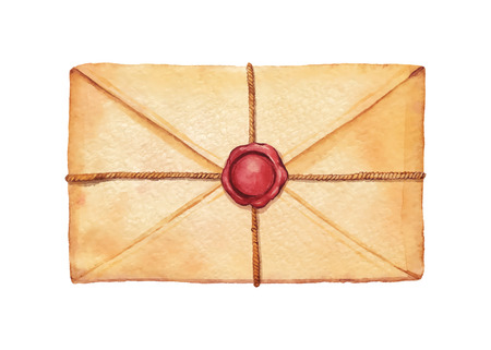 Old envelope associated cord and sealed with wax stamp - painted in watercolor.  Vectorized watercolor illustration.