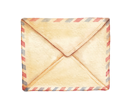 enveloppe ancienne: Old envelope peint � l'aquarelle. Vectoris� illustration d'aquarelle.