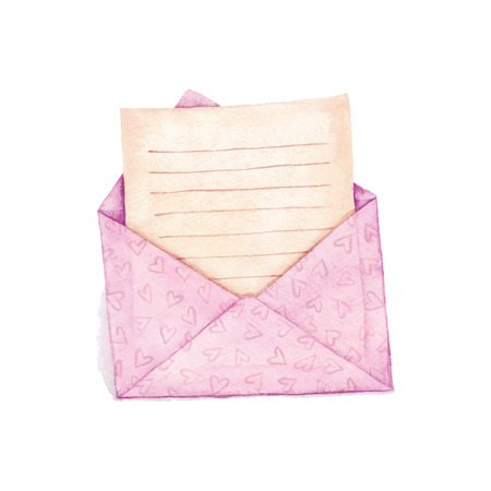 vectorized: Envelope with a letter - painted in watercolor. Vectorized watercolor illustration. Illustration