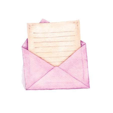 수채화 물감 - 편지와 봉투. 벡터 수채화 그림입니다. 스톡 콘텐츠 - 39988102