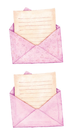 Set envelope with a letter - painted in watercolor.