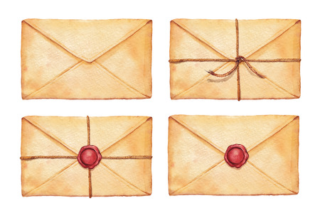 wax stamp: Set old envelope associated cord and sealed with wax stamp - painted in watercolor.