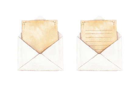 envelopes: Set envelope with a letter - painted in watercolor.