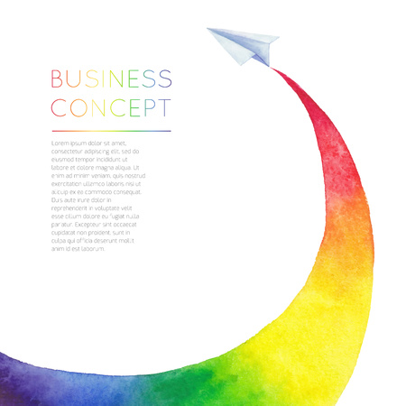 fly: Painted watercolor plane and rainbow. Use in website, flyer, corporate report, presentation, advertising, marketing etc