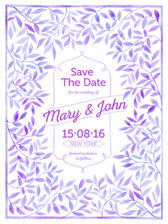 Wedding card with watercolor frame of leaves. Save the date. Ilustração