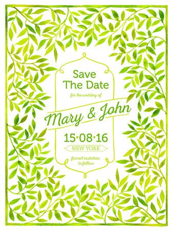 Tarjeta de boda con el marco de la acuarela de las hojas. Reserva.