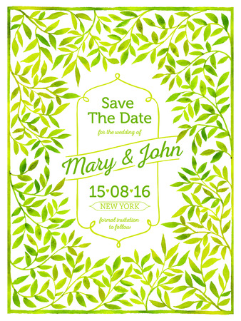 Wedding card with watercolor frame of leaves. Save the date.