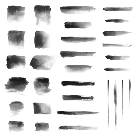 Set of hand-painted brush strokes. Black and white watercolor stripes isolated on white background. Grunge elements for design. 스톡 콘텐츠