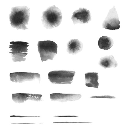 Set of hand-painted brush strokes. Black and white watercolor stripes isolated on white background. Grunge elements for design. Banco de Imagens