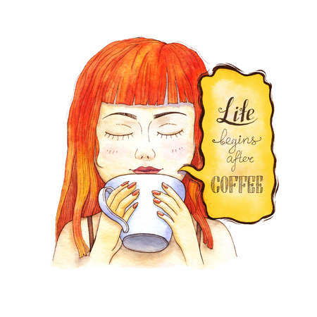 Girl drinking coffee in the morning. Watercolor illustration. Handdrawn inspirational and encouraging quote - Life begins after coffee. Hand written design. 스톡 콘텐츠