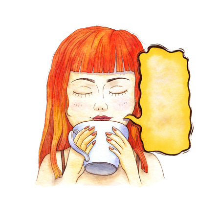 Girl drinking coffee in the morning. Watercolor illustration. 스톡 콘텐츠