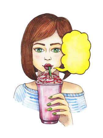 Girl drinks a drink with cream and syrup. Watercolor illustration. In a bubble with space for text.