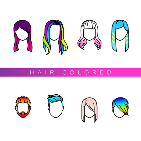 Female and male portraits with colored hair. Fashionable painting. Hair colored icons set for your design.
