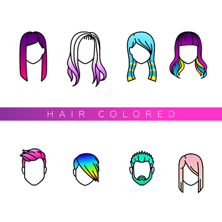 boy long hair: Female and male portraits with colored hair. Fashionable painting. Hair colored icons set for your design.
