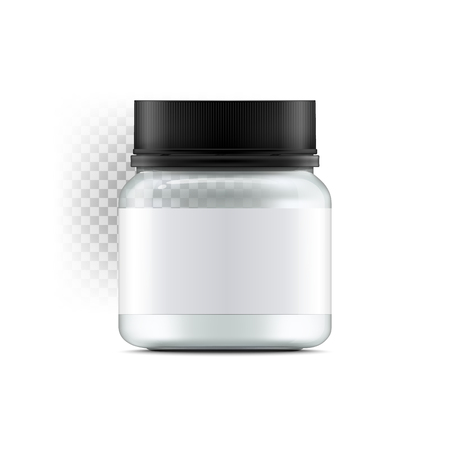 Realistic glass jar with with jam, configure or honey. Food bank.Transparent banks. Empty containers vector illustration. Mock up mason jar with design label or badges