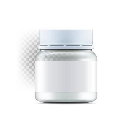 preserve: Realistic glass jar with with jam, configure or honey. Food bank.Transparent banks. Empty containers vector illustration. Mock up mason jar with design label or badges