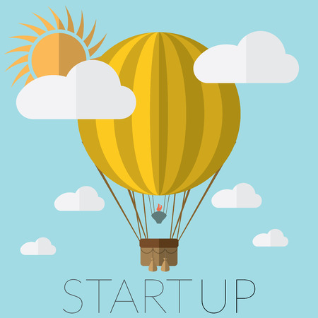 hot air: Flat design modern illustration of a hot air balloon concept for new business project startup, launching new innovation product, creative start on market.
