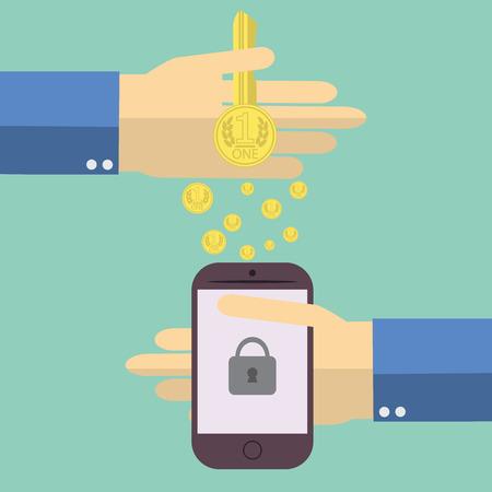 Flat design modern illustration of human hands making money transfer to mobile phone, on color background. Ilustrace