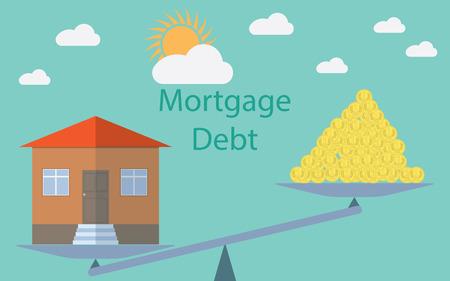 Flat design modern illustration concept for investment in real estate, house debt.