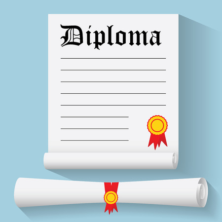 Flat design modern illustration of Degree Scroll with Red Ribbon and Diploma, on color background.