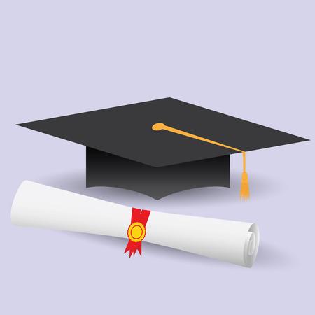 diploma: Diseño de la ilustración moderna plana del casquillo de la graduación y diploma. Vectores