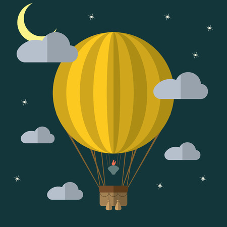balloons: Flat design modern illustration of a hot air balloon concept for new business project, creative start on market.