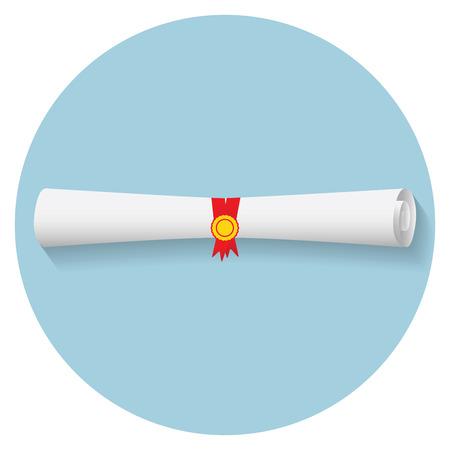 diploma: Diseño de la ilustración moderna plana del icono de diploma de graduación. Vectores