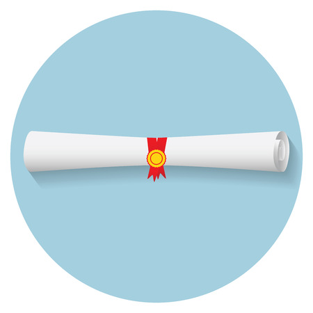 rolled: Flat design modern illustration of graduation diploma icon.