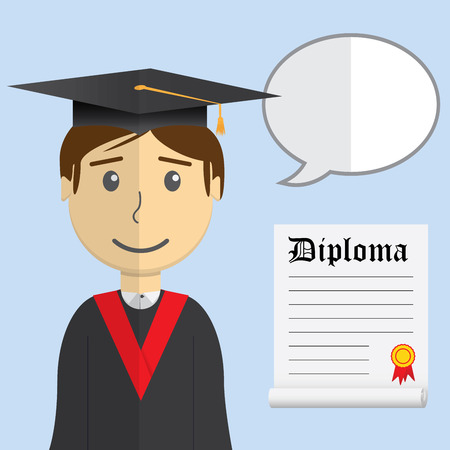 alumnus: Flat design modern illustration of student in graduation gown with diploma and speak burble on color background.
