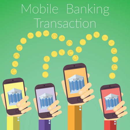 online banking: Flat design illustration of hands holding smart phones with bank icon. Concept for online banking transaction, on color background.