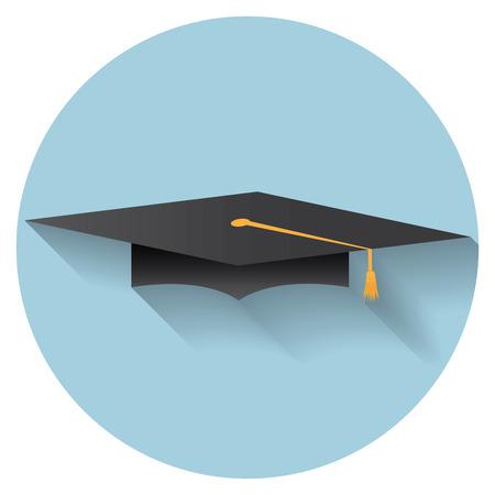 valedictorian: Flat design modern illustration of graduation cap icon. Illustration