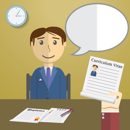 Flat design illustration concept for job interview, Hand Holding CV Profile talking to Candidate on Position.