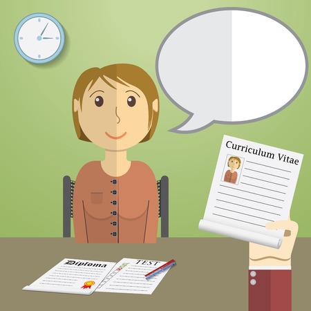 entrevista de trabajo: Diseño plano concepto de ilustración para la entrevista de trabajo, Mano Holding CV Perfil hablar con Candidato en Posición. Vectores