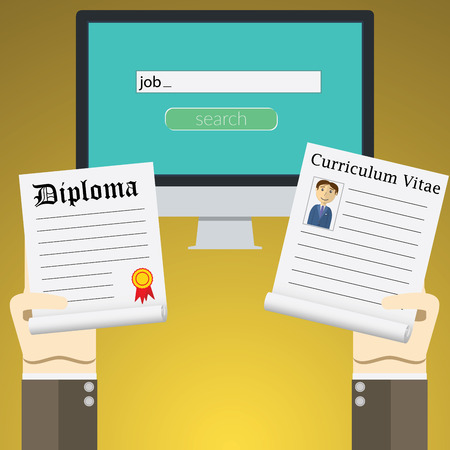 rookie: Flat design illustration concept for online job Search on computer. Concepts of hands Holding diploma and cv resume. Illustration