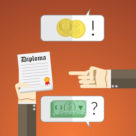 salaries: Flat design illustration concept for interview with diploma and salary negotiation. Illustration