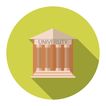 university building: Flat design style illustration concept for University building education icon with long shadow.