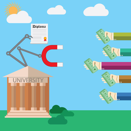 college building: Flat design illustration concept for payed education process. Illustration