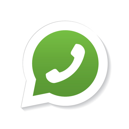 Green phone handset in speech bubble icon with fading shadow, isolated on white background. Illustration