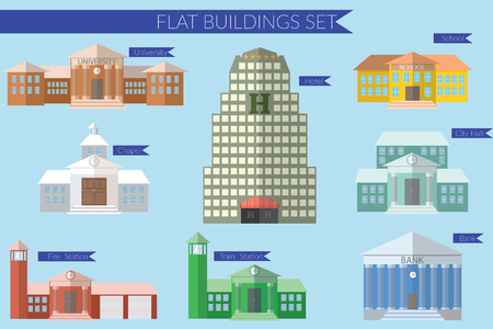 office building exterior: Flat design illustration concept for  building education icons set. University fire station, bank, city hall, school.
