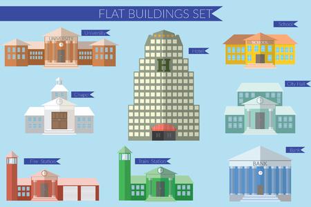 Flat illustration de conception concept pour construire icônes d'éducation fixés. La station Université de feu, la banque, l'hôtel de ville, à l'école.