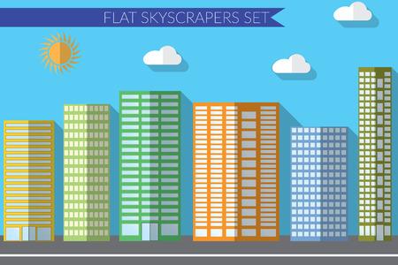 office windows: Flat design illustration concept for urban landscapes city skyscrapers.