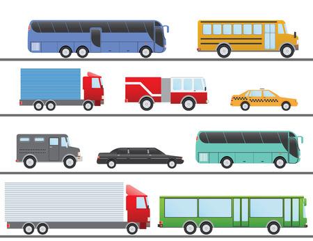 brandweer cartoon: Platte ontwerp illustratie stad vervoer plat Icons. Vrachtwagens, bussen, taxi, limo, brand vrachtwagen, en schoolbus. Stock Illustratie