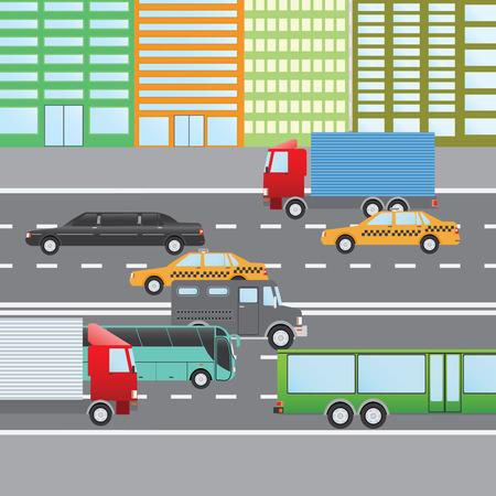 limo: Flat design illustration of city traffic, Transportation Flat Icons. Trucks, Bus, taxi, limo, bank truck.