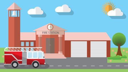 incendio casa: Ilustración plana diseño del edificio de la estación de bomberos y camión de bomberos estacionado en el estilo de diseño plano, ilustración.