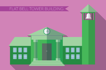 apartment bell: Flat design modern illustration of building with bell tower icon, with long shadow on color background.