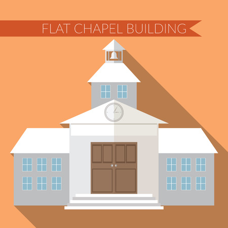 chapel: Flat design modern illustration of chapel or wedding church building icon, with long shadow on color background. Illustration